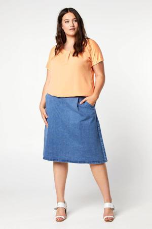 A-lijn rok met ceintuur blauw