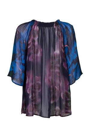 semi-transparante blouse met all over print en vleermuismouwen blauw/paars/zwart/blauw