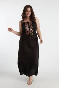 MS Mode halter maxi jurk met borduursels zwart, Zwart
