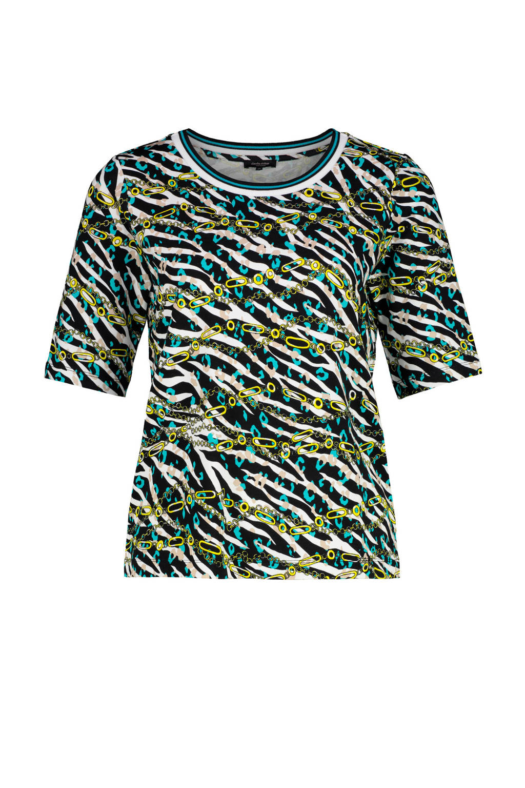 Claudia Sträter top met all over print limegroen/blauw/wit, Limegroen/blauw/wit