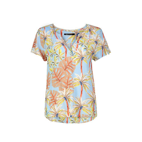 Expresso top met all over print blauw/multi
