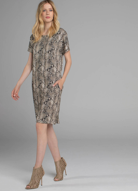 Claudia Sträter jurk met slangenprint bruin, Bruin