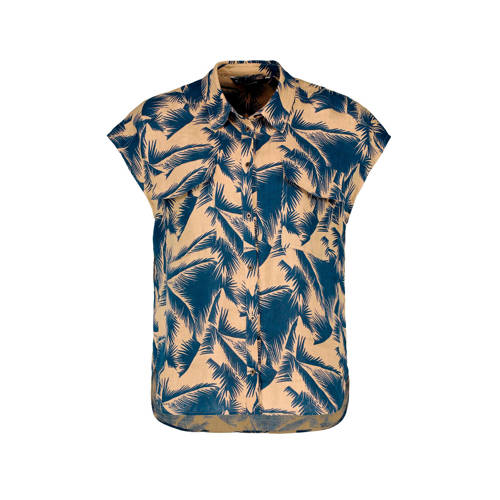 Expresso linnen blouse met all over print beige/bl