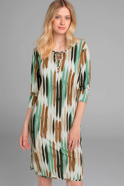 Claudia Sträter jersey jurk met all over print camel/wit/mint, Camel/wit/mint
