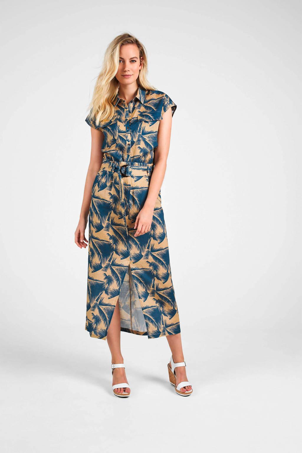 Expresso linnen rok met all over print en ceintuur beige/blauw, Beige/blauw