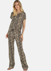 Claudia Sträter high waist straight fit broek met slangenprint bruin, Bruin