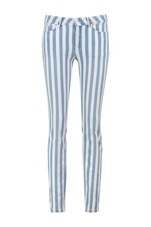 gestreepte skinny jeans Elany lichtblauw/wit