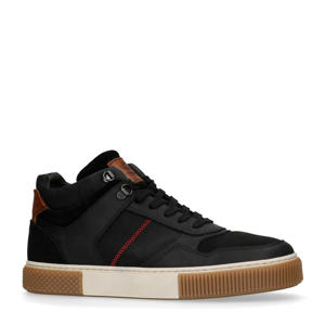 leren hoge sneakers zwart