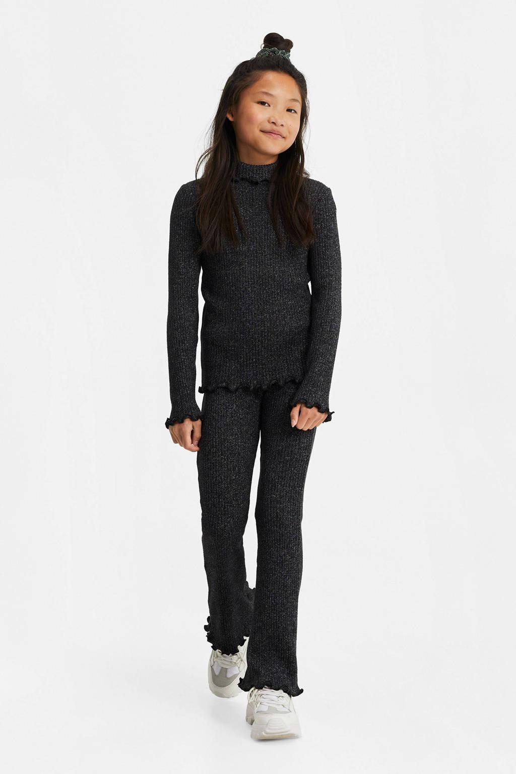 WE Fashion flared broek zwart/zilver, Zwart/zilver