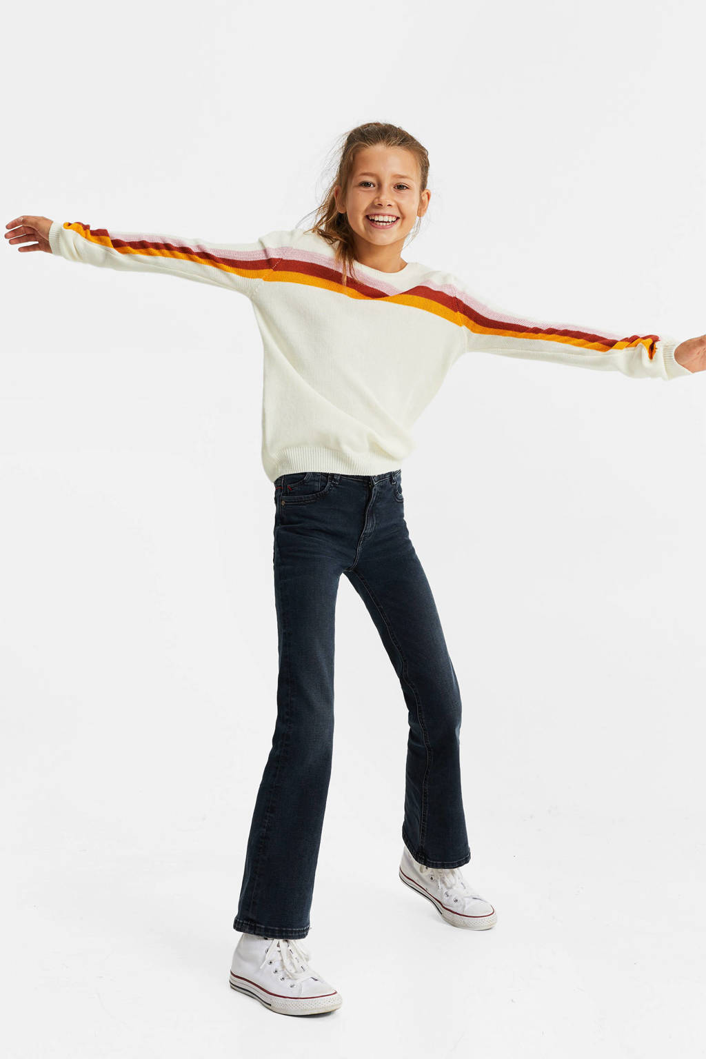 WE Fashion gestreepte trui wit/rood/geel, Wit/rood/geel
