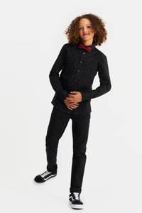 WE Fashion regular fit overhemd met all over print zwart/wit/rood, Zwart/wit/rood