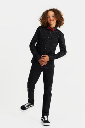 regular fit overhemd met all over print zwart/wit/rood