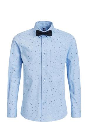 regular fit overhemd met vlinderdas lichtblauw/donkerblauw