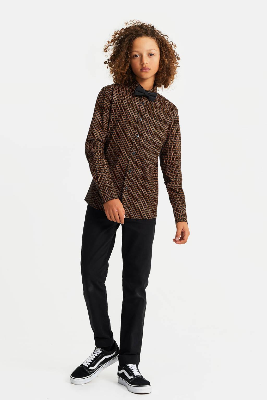 WE Fashion regular fit overhemd met vlinderdas zwart/bruin, Zwart/bruin