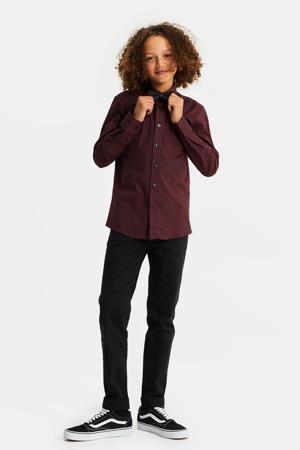 regular fit overhemd met vlinderdas donkerrood