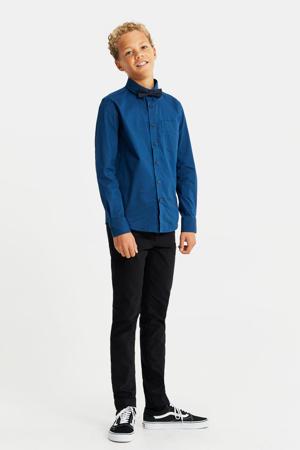 regular fit overhemd met vlinderdas donkerblauw