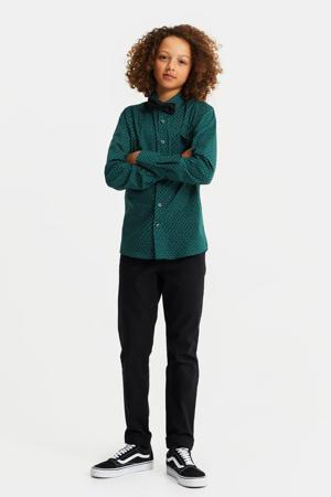 regular fit overhemd met vlinderdas donkergroen/wit/zwart