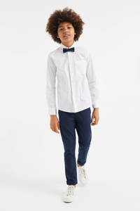 WE Fashion regular fit overhemd met vlinderdas wit/zwart, Wit/zwart