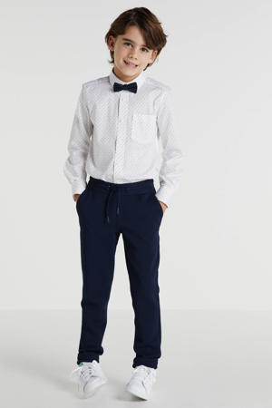 regular fit overhemd met vlinderdas wit/zwart