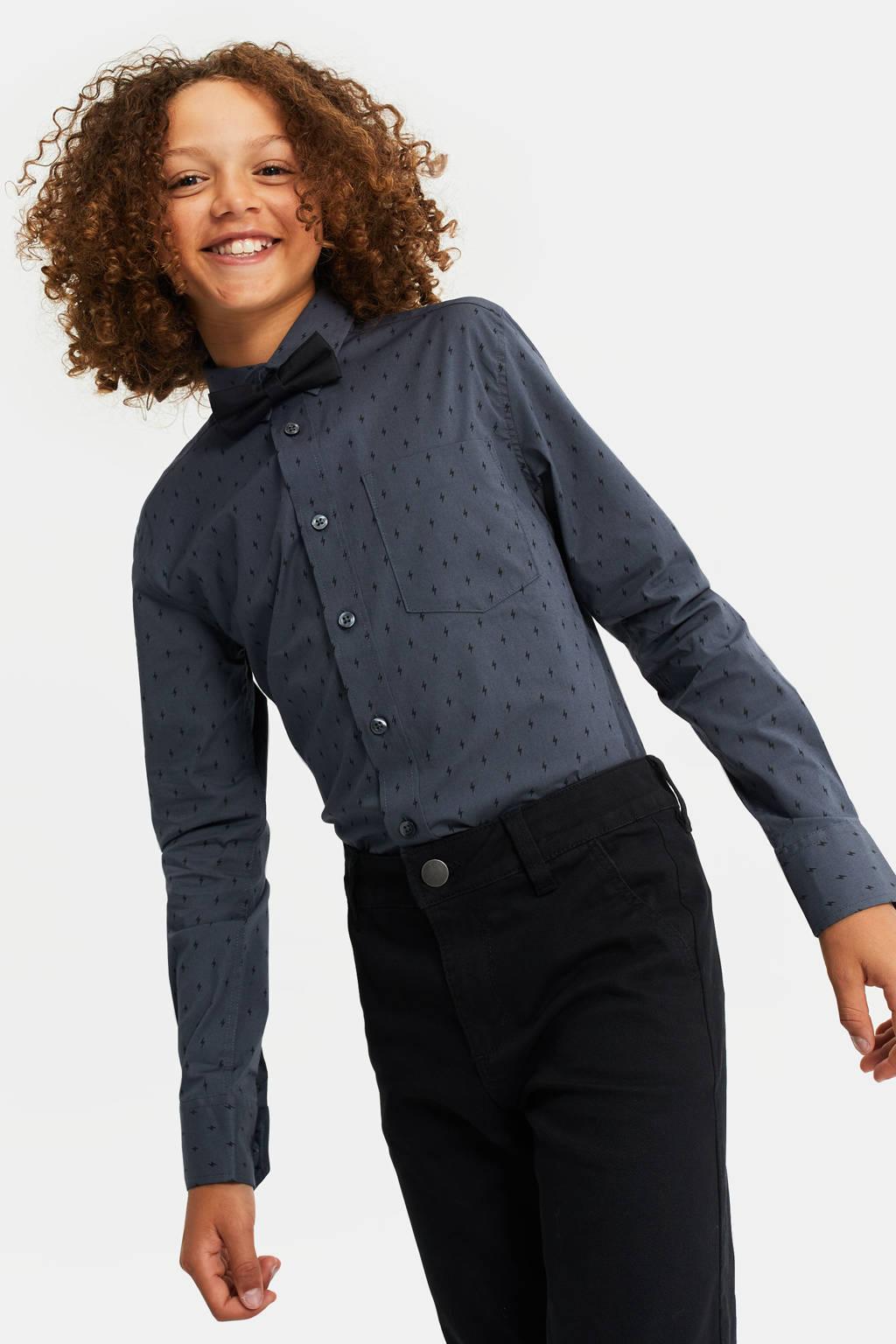 WE Fashion regular fit overhemd met vlinderdas donkerblauw/zwart, Raven