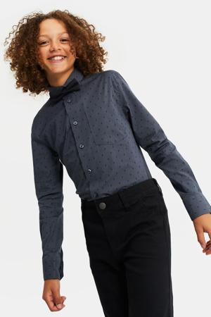 regular fit overhemd met vlinderdas donkerblauw/zwart