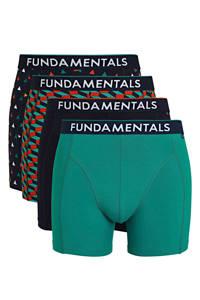 WE Fashion Fundamental boxershort (set van 4), Donkerblauw/blauw