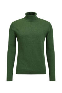 WE Fashion gemêleerde fijngebreide coltrui deep green, Deep green