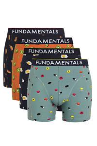 WE Fashion Fundamentals boxershort (set van 4), Blauw/donkerblauw
