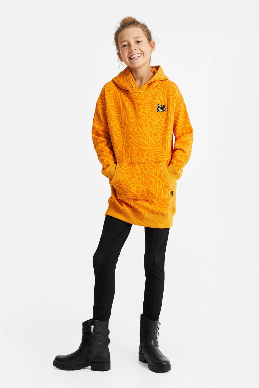 WE Fashion hoodie met dierenprint en borduursels geel/oranje, Geel/oranje