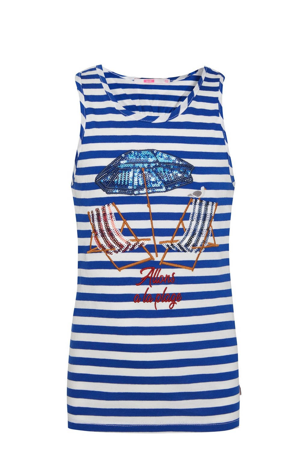 WE Fashion gestreepte singlet blauw/wit/rood, Blauw/wit/rood