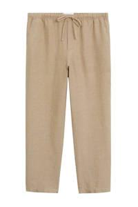 Mango linnen straight fit broek beige, Beige