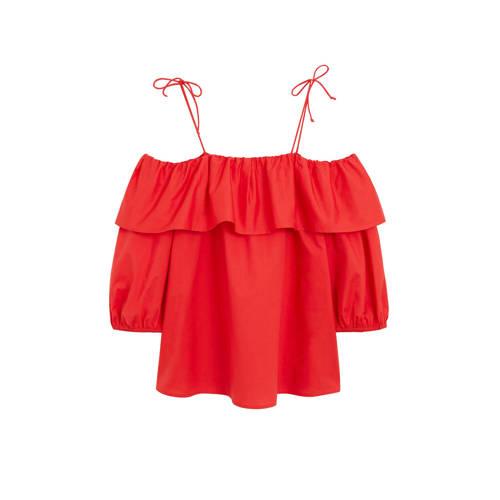 Violeta by Mango off shoulder top en volant rood