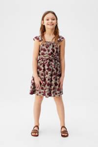 Mango Kids jurk met all over print donkerrood/zwart/offwhite, Donkerrood/zwart/offwhite