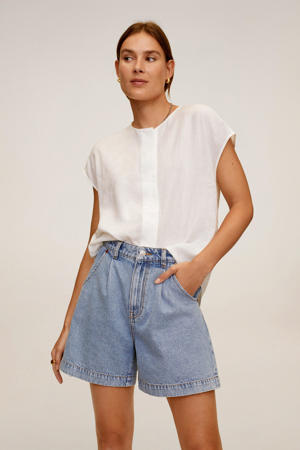 blouse met linnen wit