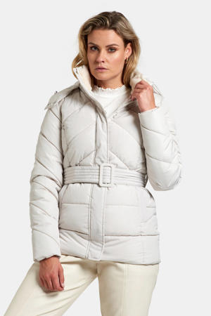 gewatteerde winterjas met ceintuur gebroken wit