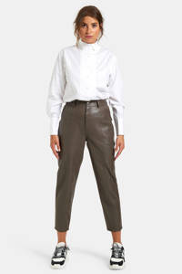 Eksept by Shoeby imitatieleren cropped high waist straight fit broek Move taupe, Taupe