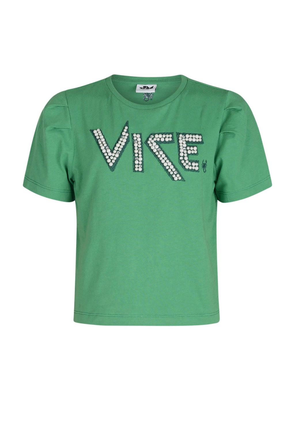 Jill & Mitch by Shoeby T-shirt Gammie met tekst groen, Groen