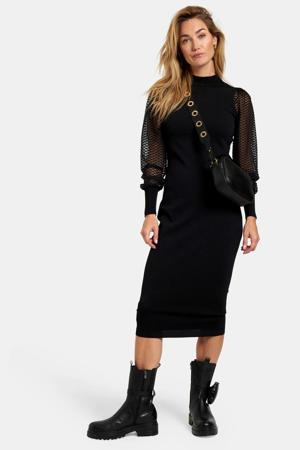 semi-transparante maxi jurk Pip met textuur zwart