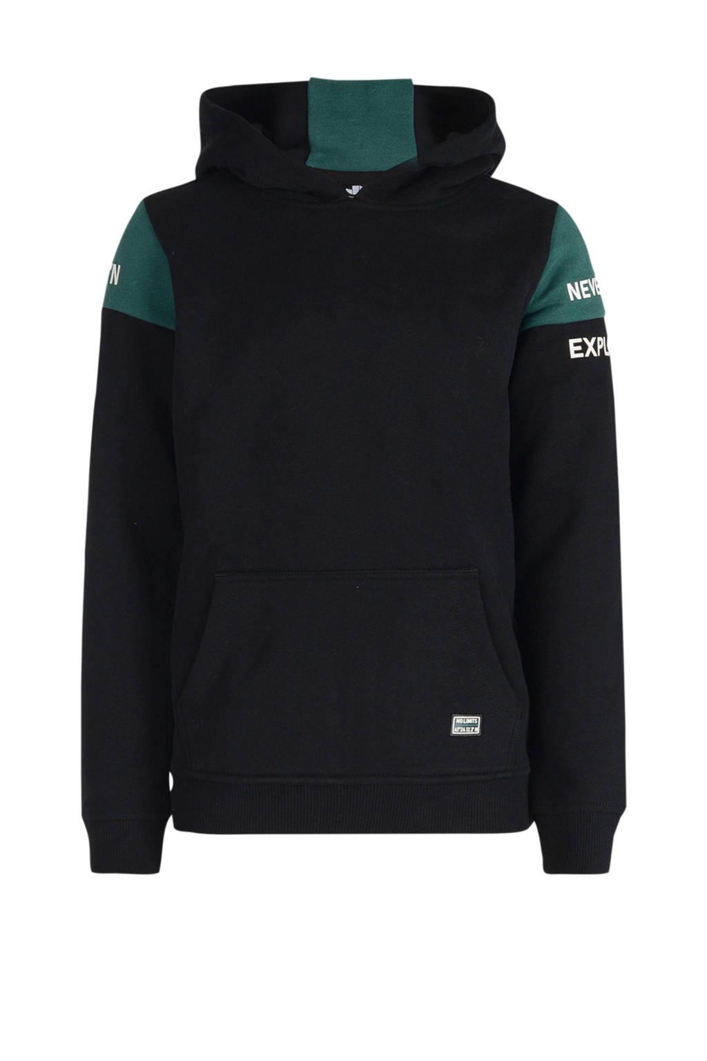 Jill & Mitch by Shoeby hoodie Maniel zwart/groen, Zwart/groen
