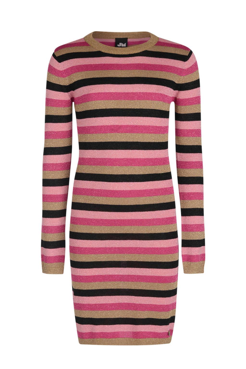 Jill & Mitch by Shoeby gestreepte jurk Marly roze/zwart, Roze/zwart