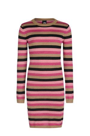 gestreepte jurk Marly roze/zwart