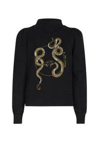Jill & Mitch by Shoeby sweater Georgette met printopdruk donkergrijs, Donkergrijs