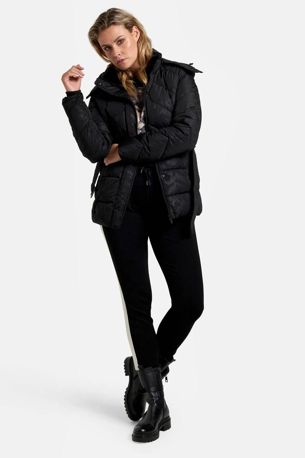 Eksept by Shoeby gewatteerde winterjas met ceintuur zwart, Zwart
