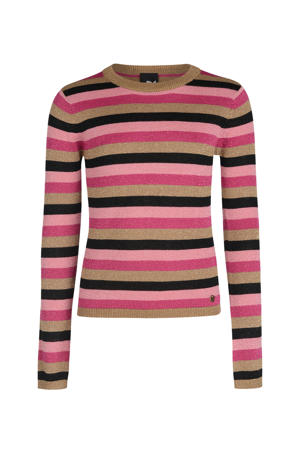 gestreepte longsleeve Marly roze/zwart