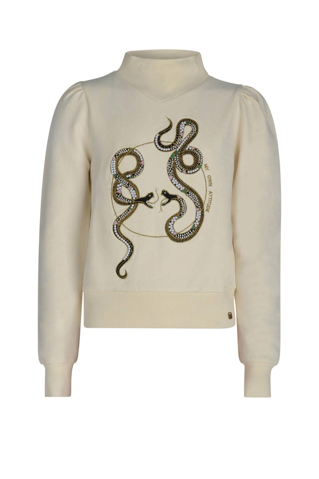 Jill & Mitch by Shoeby sweater Georgette met printopdruk wit, Wit