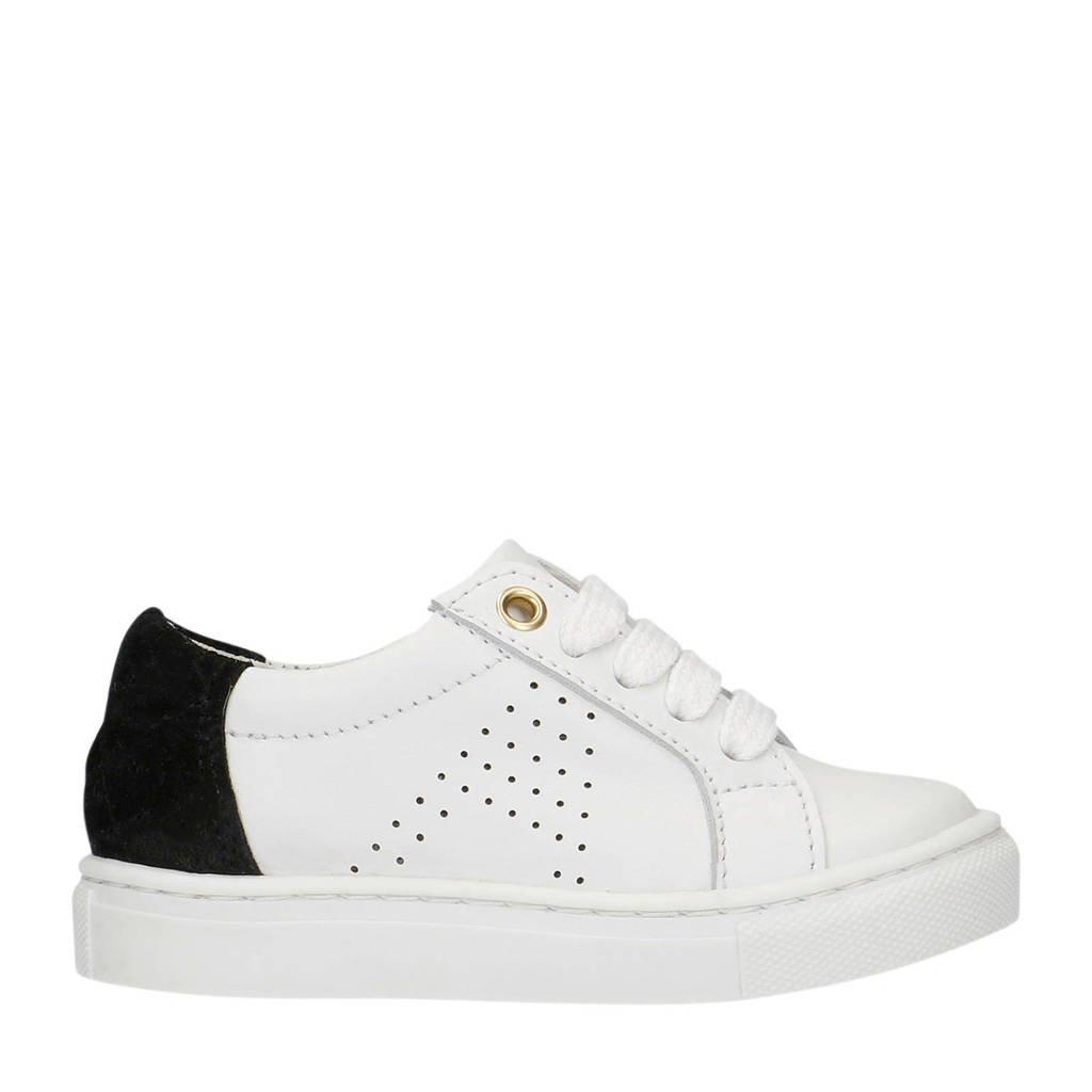 Manfield x Annic   leren sneakers wit/zwart, Wit/zwart