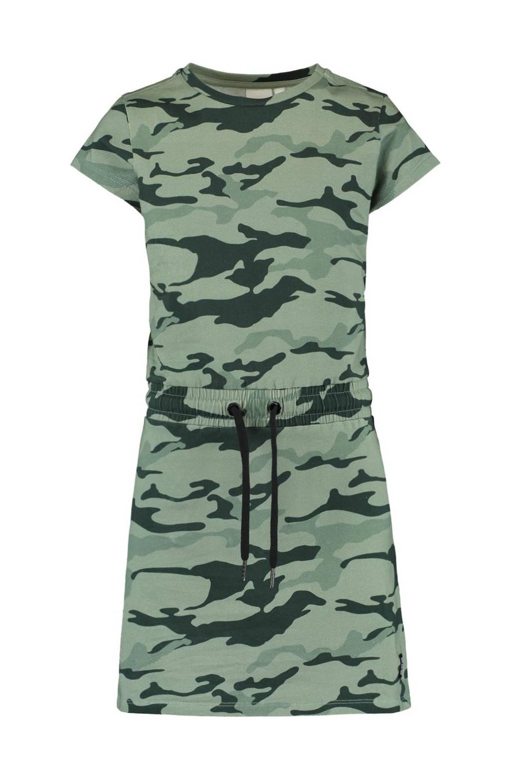 CoolCat Junior jersey jurk Dana met camouflageprint mintgroen/army groen