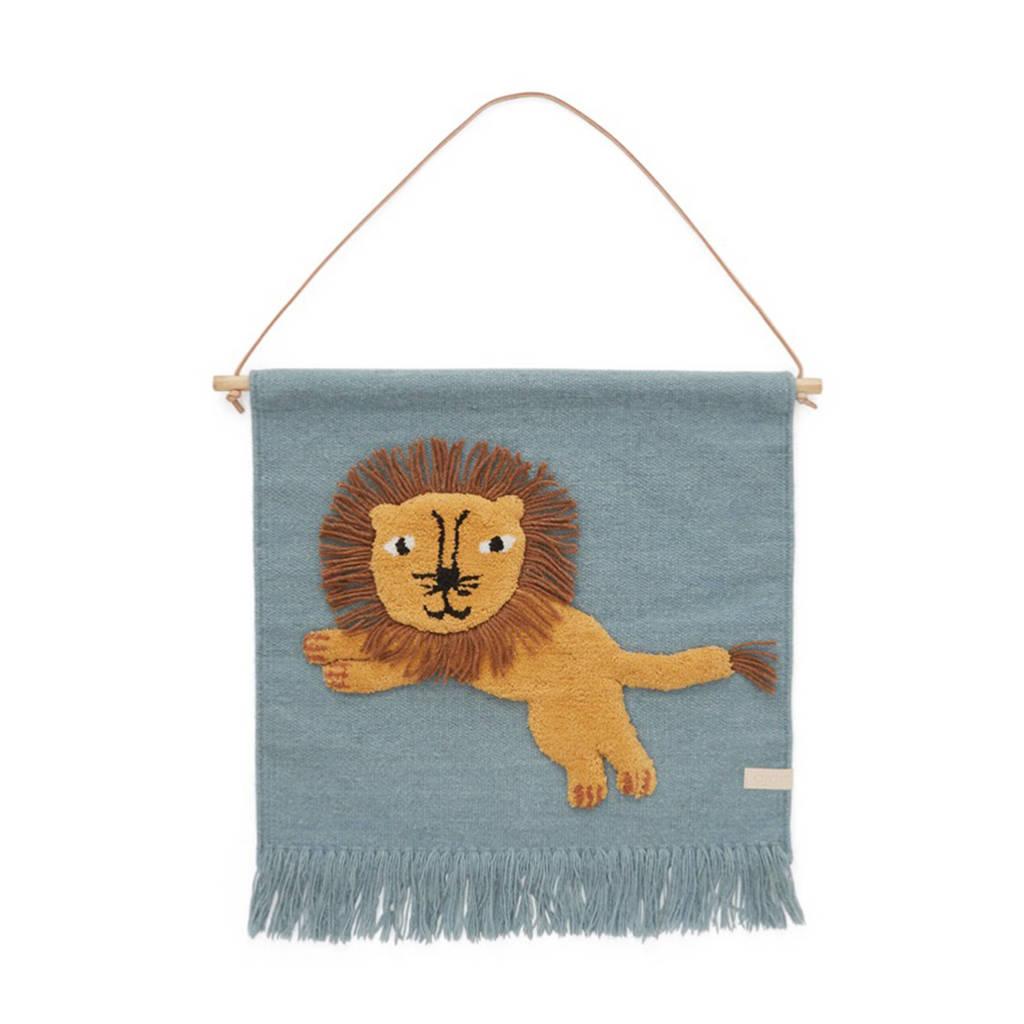OYOY Mini wandkleed Jumping Lion (55x52 cm)  (55x52 cm), Tourmaline