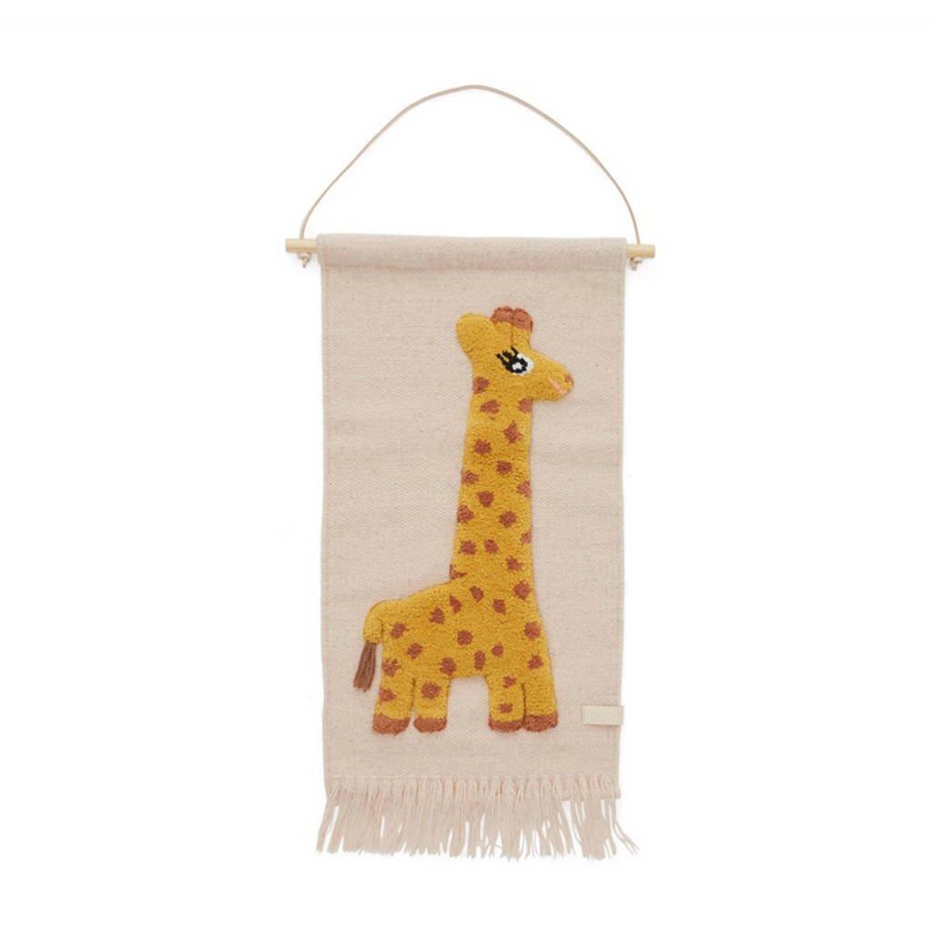 OYOY Mini wandkleed Giraffe (70x32 cm)  (70x32 cm), Roze