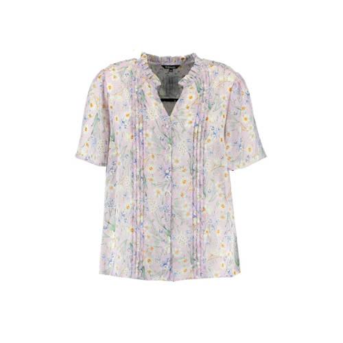 MS Mode gebloemde blouse lila/multi